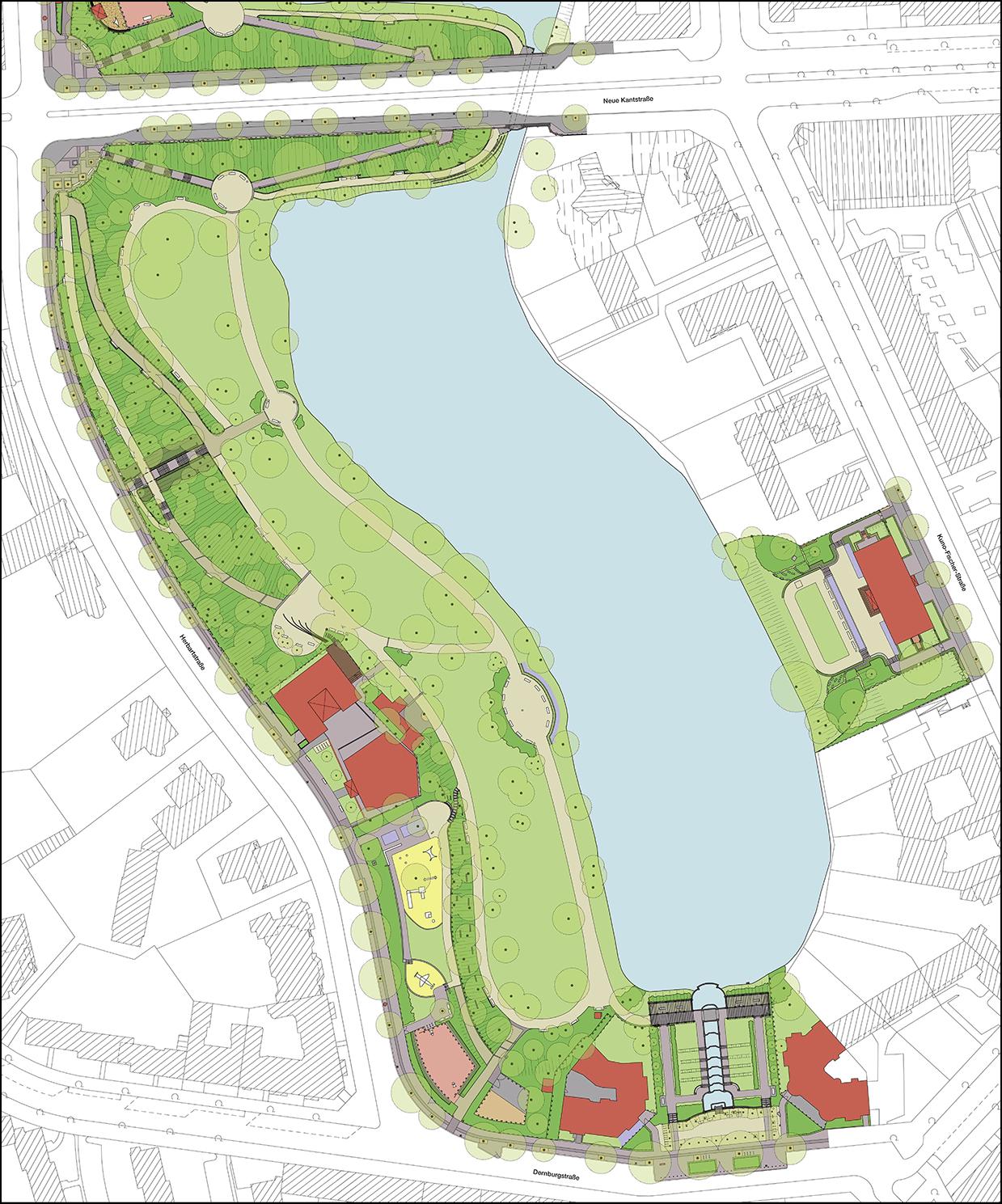 """""""Parkpflegewerk Lietzenseepark, Entwicklungsplan – Südteil (Ausschnitt)"""""""
